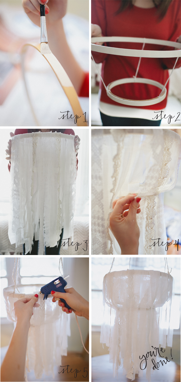 Step 1 Paint Embroidery Hoops White Or Wver Main Color Your Chandelier Is