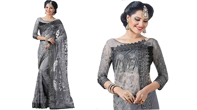 Aarti Apparels Embroidered Bollywood Net Saree  (Grey)
