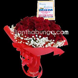 buket mawar merah untuk ulang tahun doi