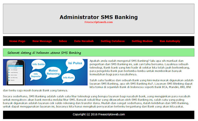 Script PHP SMS Banking