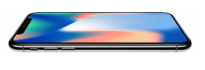 iPhone X with colorful image displayed