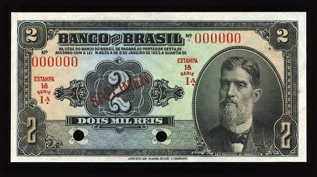 World Paper Money American Brazilian currency Mil Reis banknote Banco Brasil