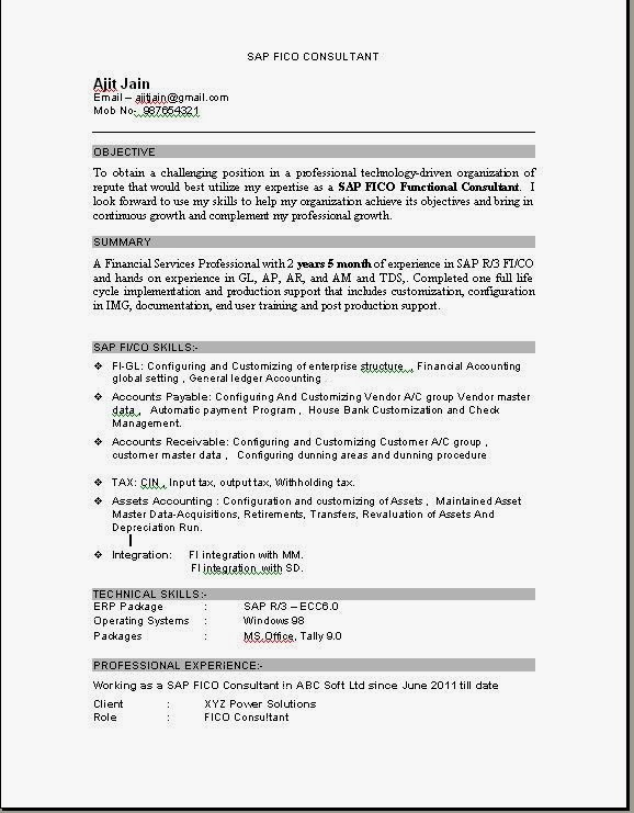 sample resume for sap fico consultant fresher job resume samples - Sample Resume Download