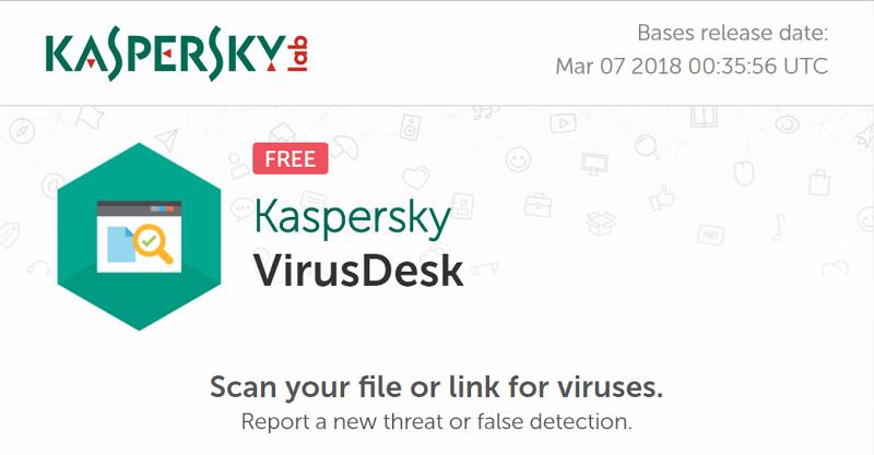 Kaspersky VirusDesk  免費線上病毒掃描服務