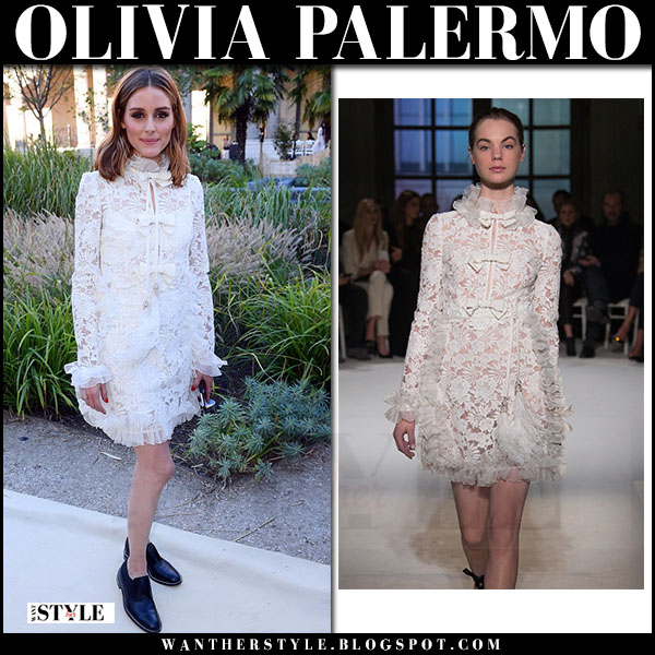 Olivia Palermo in white lace mini dress Giambattista Valli what she wore july 3 2017 front row paris