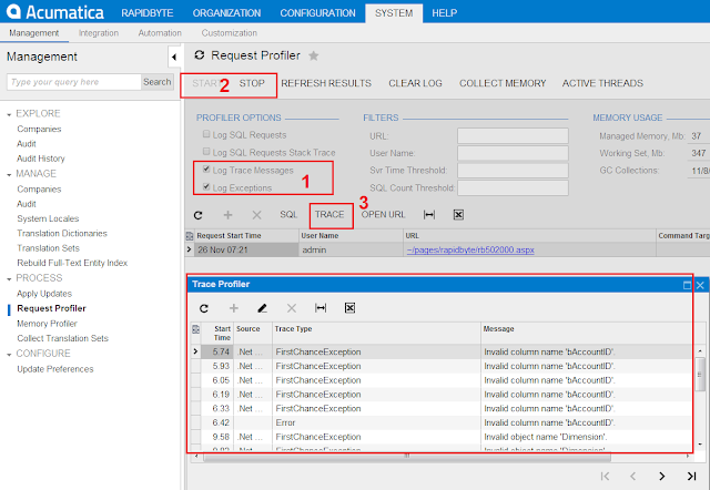 Catch Expetions in Acumatica Request Profiler
