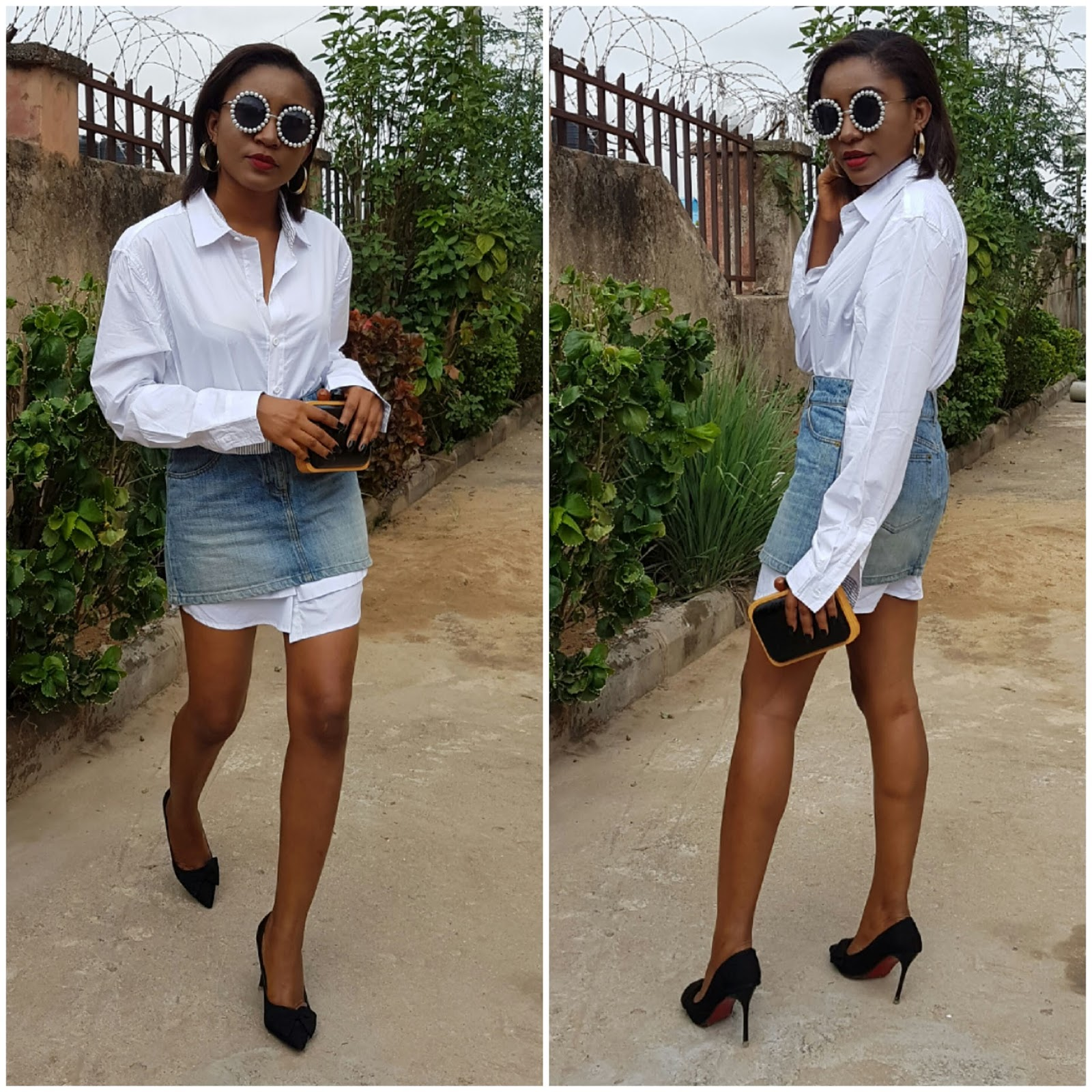 styling oversize white shirt, denim skirt, clutch, black heels, chanel sunglasses