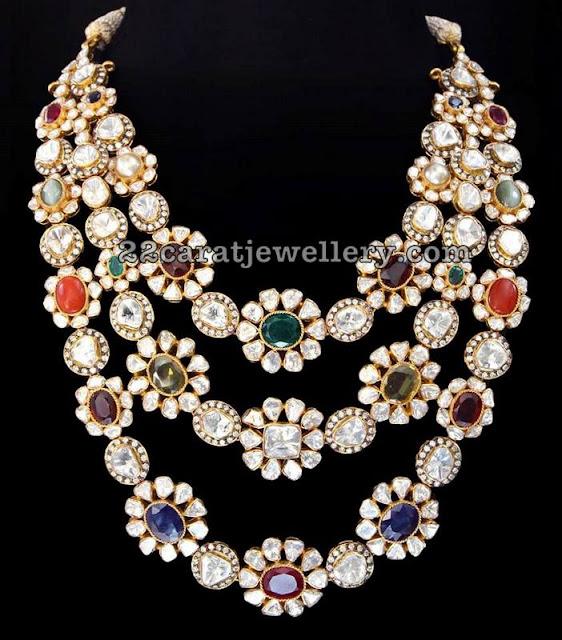 Navaratan Stone Three Rows Pachi Necklace