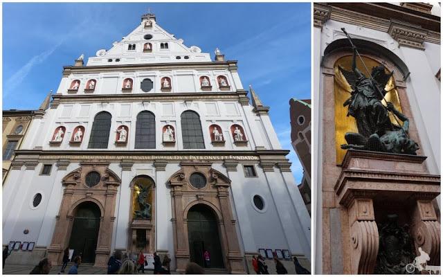 fachada de san miguel munich con escultura del arcangel