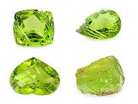Doğal şekilli krizolit ile birlikte kalp, kare ve damla şeklinde kesilmiş yeşil krizolit taşları