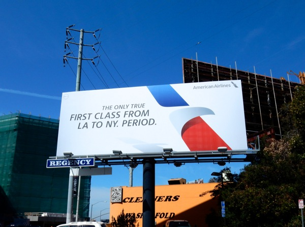 American Airlines First Class LA NY billboard