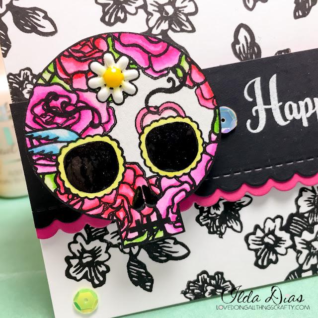 Dia dos Muertos - Sugar Skull Action Wobble Card by ilovedoingallthingscrafty