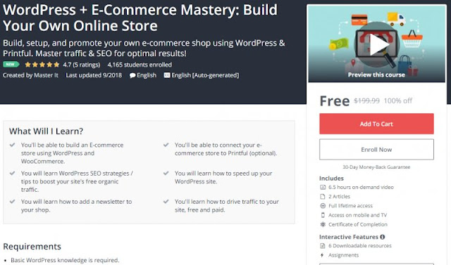 [100% Off] WordPress + E-Commerce Mastery: Build Your Own Online Store| Worth 199,99$