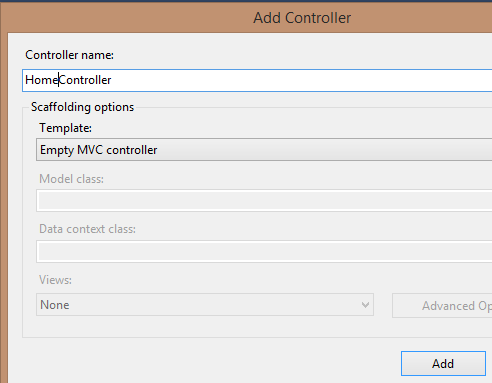 HomeController configuration