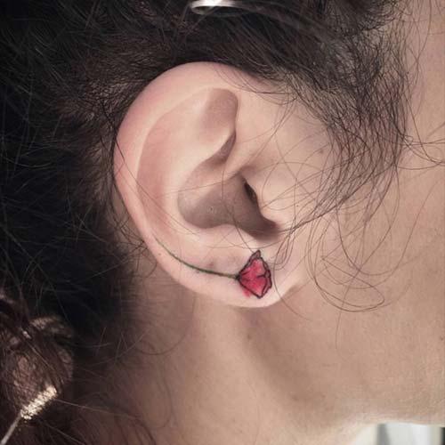 kulak memesi çiçek dövmesi earlobe flower tattoo