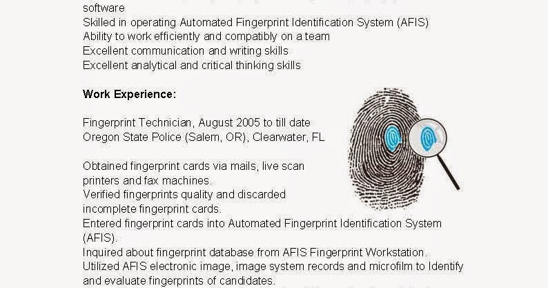 Resume Samples Fingerprint Technician Resume Sample
