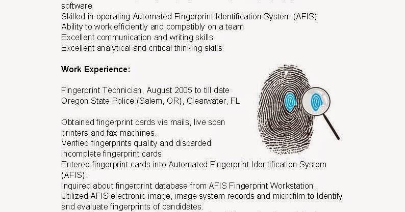 Resume Samples Fingerprint Technician Resume Sample - fingerprint specialist sample resume