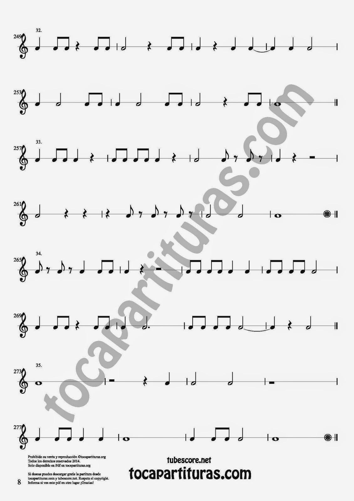 8 Parte 35 Ejercicios Rítmicos para Aprender Solfeo Negras, corcheas, blancas y sus Silencios Compás 4x4 cuatro tiempos Sheet Music for quarter notes, half notes, 1/8 notes and silences