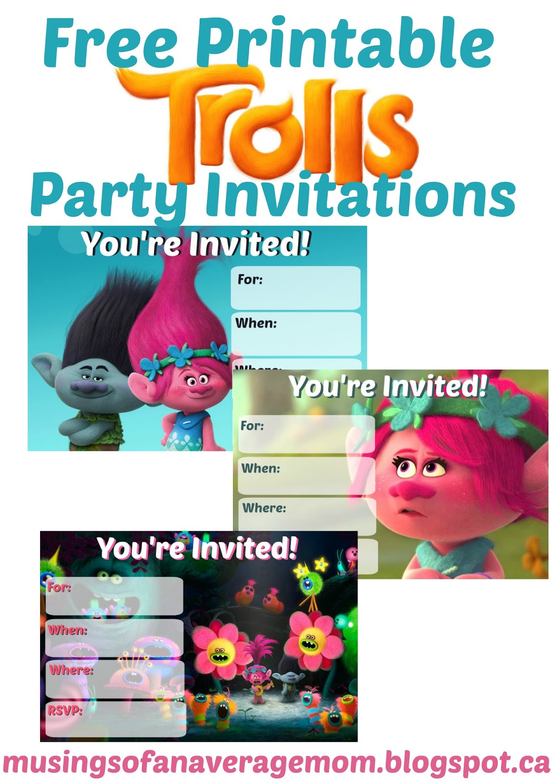 image relating to Printable Trolls Invitations identify Musings of an Typical Mother: Trolls Occasion Invites