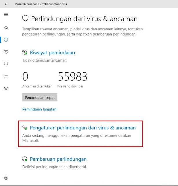 Cara mematikan sementara Windows Defender di Windows 10
