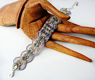 Micro macrame bracelet in spring tones by Knot Just Macrame.