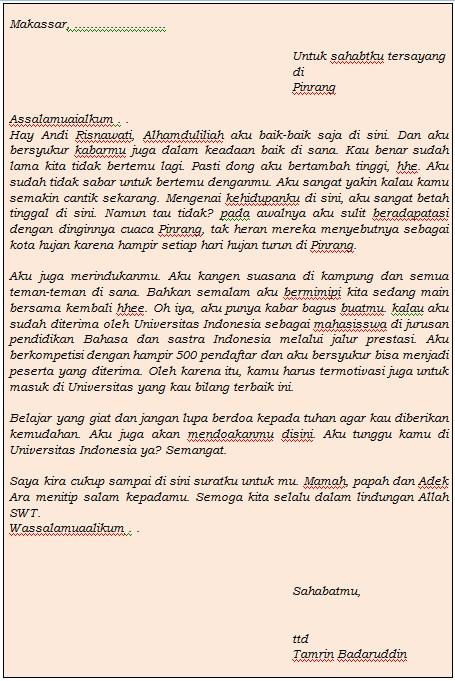 Download 7 Contoh Surat Pribadi Buat Sahabat Terbaru Format Ms Word