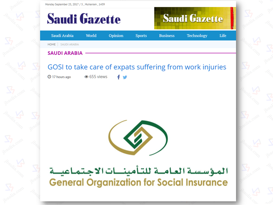 "The General Organization for Social Insurance (GOSI) has reiterated that it will bear their cost of living should any expatriate worker got injured while doing their duties..  If an injured worker needs the help of others to run his daily affairs of life he or she will be entitled to be paid about 50 percent of the proceedings of his insurance with a maximum ceiling of SR3,500 every month, GOSI said.  But if a worker objects to the preliminary medical report, he will be responsible to bear his expenses as long as his objection is under review.  ""If the objection is accepted, the worker will be compensated,"" GOSI said.  If a worker's injury results in permanent disability then GOSI will bear the travel expenses of the worker to his or her home country.  GOSI said the entire compensation will be paid before the injured worker leaves for his or her home country.  GOSI said that it will be considered a work injury if an expatriate worker is injured in a traffic accident while on his/her way to work place or back home from work. Sponsored Links ""It will be considered a work injury if an expatriate worker is hit by a car while on his way to have food or on his way to pray in a nearby mosque,"" it said.  GOSI said it will also pay the cost of repatriating the dead body of an expatriate worker if he or she dies of a work injury. This will include paying the cost of Ghusl (washing) and other expenses, it added.  During the first nine months of 2016, GOSI registered 38,767 work injuries among Saudi and expatriate workers. It said that there were 375 deaths during the same period.  According to GOSI's figures, there were 10,502 inured workers during the first nine months of the past year who were under medical treatment. It said, 920 of them have recovered and 128 have died due to work injuries. Source: Saudi Gazette"
