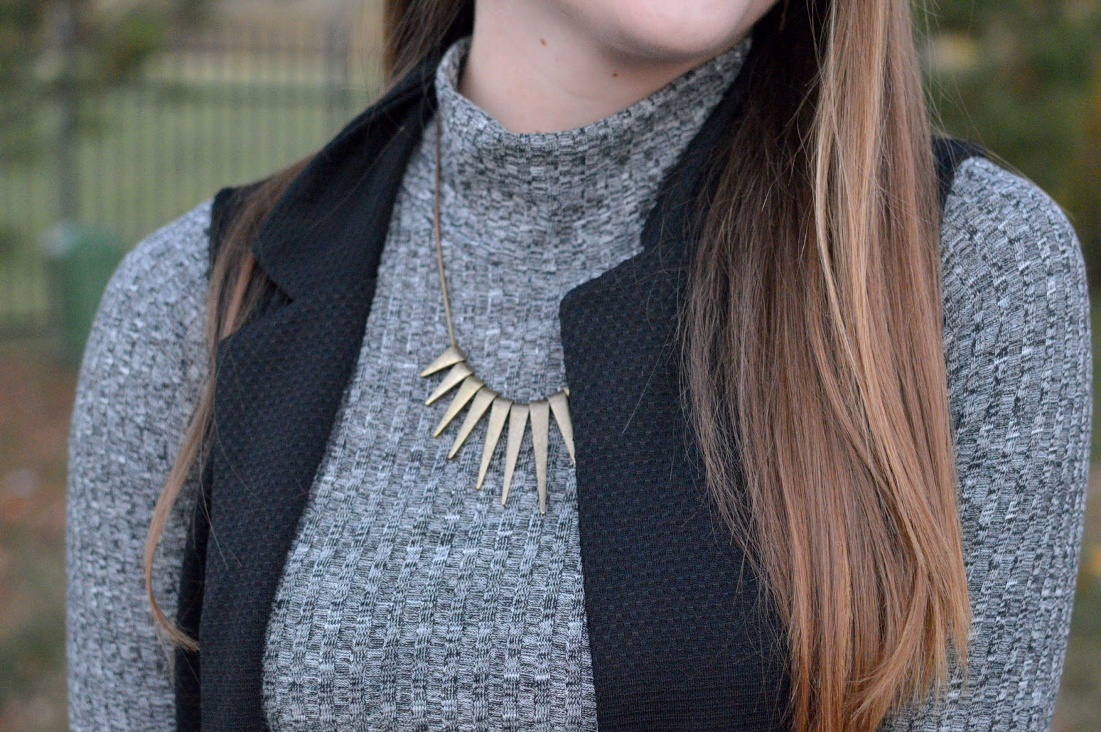 express spiked gold necklace
