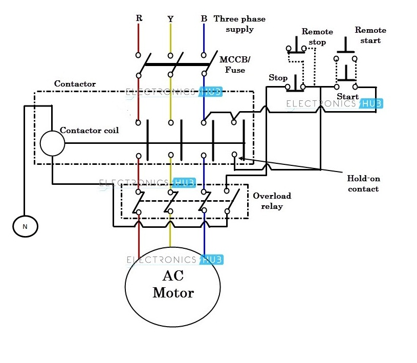 wiring diagram of a single phase dol starter
