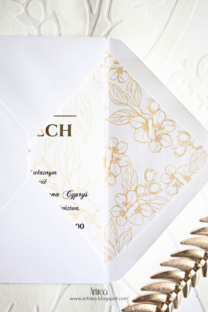 Jaśmin - eleganckie, delikatne biało-złote zaproszenia ślubne