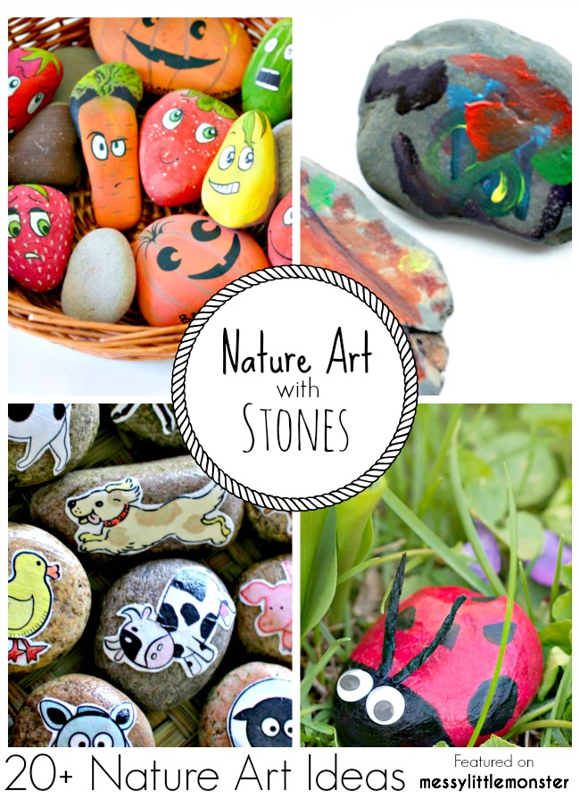 Summer Nature Art and Craft Ideas for kids using stones and pebbles. 20 fun outdoor activity ideas using nature for toddlers, preschoolers and older kids to enjoy.