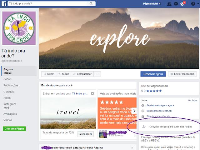 Convide amigos para curtir a fanpage do blog Tá indo pra onde?