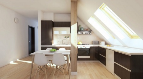Loft apartment interior design modern design attic for Attic kitchen designs