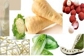 Buah dan sayur warna putih