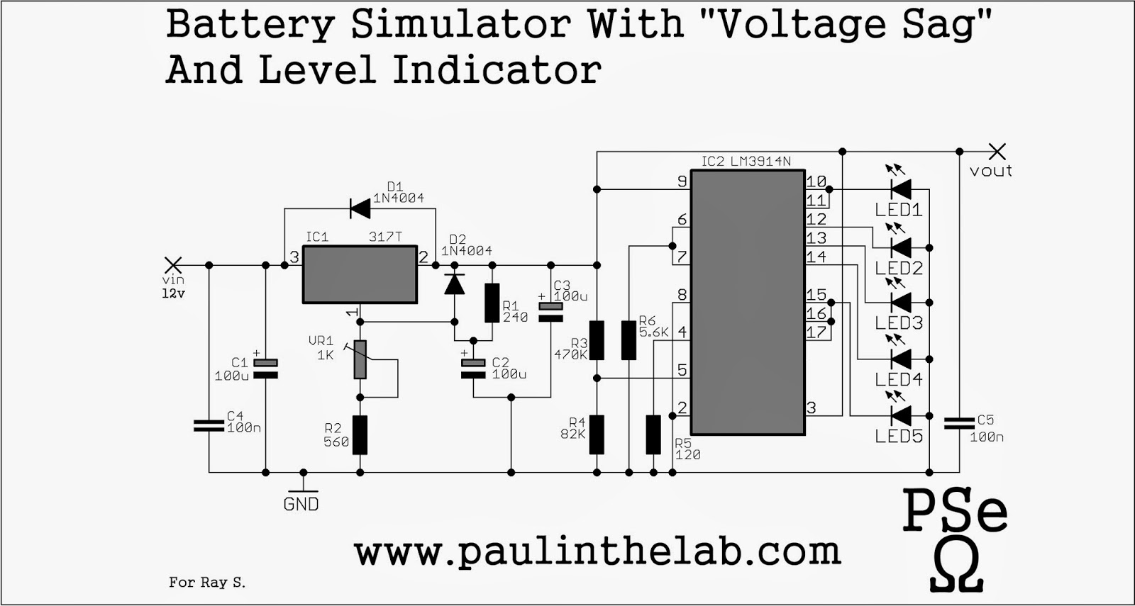 paul in the lab  battery simulator with voltage sag and bar led indicator stripboard veroboard