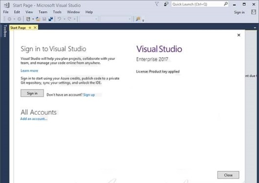 visual studio 2017 license product key applied