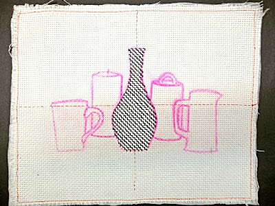 Blackwork embroidery, Step 1: the Vase