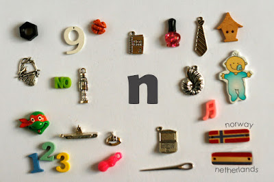 TomToy Individual letter N I spy trinkets for alphabet, Miniature abc objects, Montessori alphabet. Sorting toddler activities