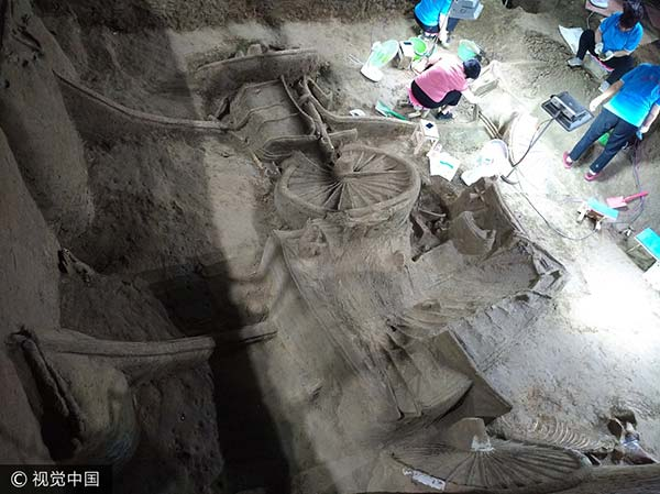 Luxury noble vehicles unearthed in Henan