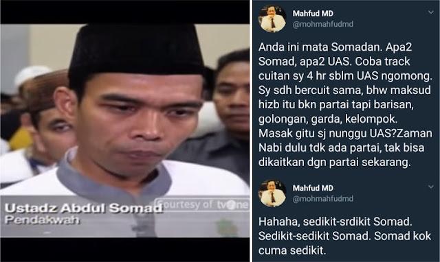 Mahfud MD 'Nyinyir', Begini Balasan Bijak Ustadz Somad