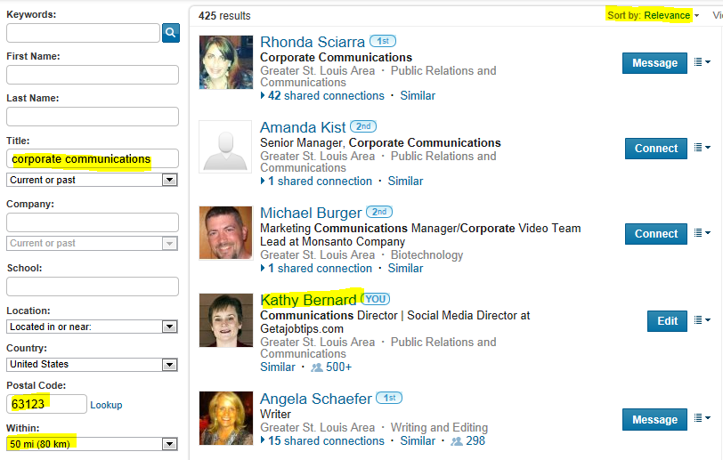 LinkedIn advanced people search, search LinkedIn, see how high up you come up in LinkedIn search results,