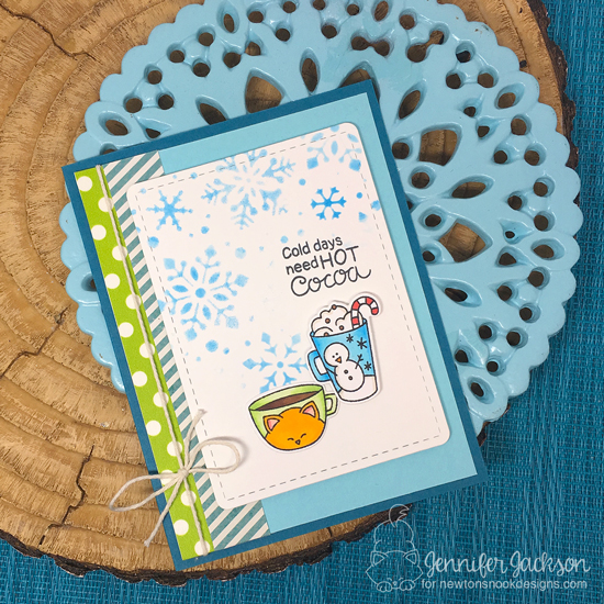 Winter Coffee Lovers Blog Hop! Winter Hot Cocoa Card by Jennifer Jackson | Cup of Cocoa Stamp Set by Newton's Nook Designs #newtonsnook #handmade