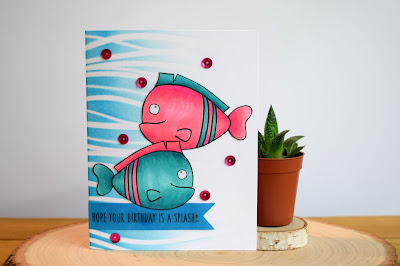 Fish Birthday Card featuring Jess Crafts Digitals Fish Friends by Jess Gerstner