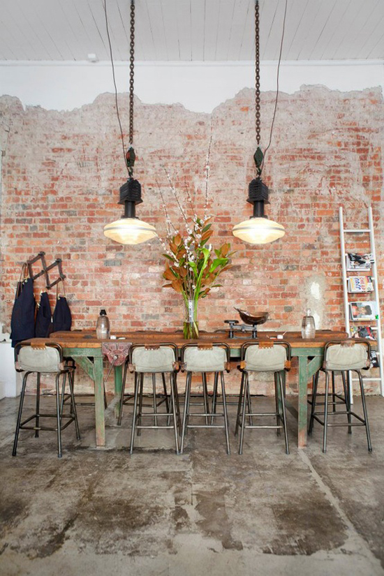 Industrial and loft interiors with bare brick walls