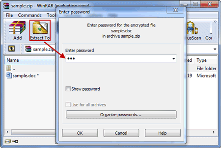 extract winzip file with recovered password