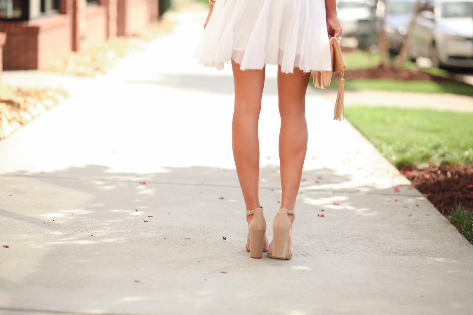 1e7391985fa4c5 Sam Edelman Yaro Ankle Strap Sandals    Free People Lace Mini Dress     Kendra Scott Kirsten Earrings    Brown Clutch