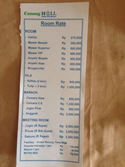 rate cunang hill, harga menginap di cunang hill, tipe kamar