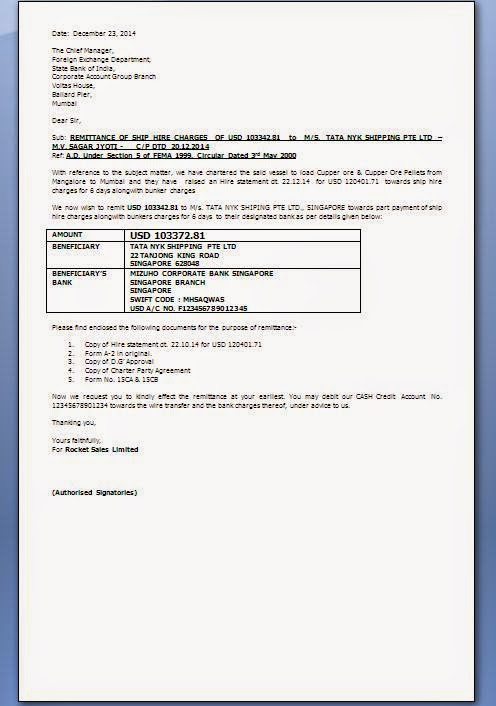 Remittance Letter Format For Banks