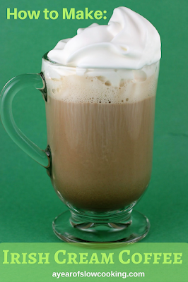 Simple and easy way to make Irish Coffee at home. Make a huge batch to serve a bunch of people by cooking it in the crockpot slow cooker. Fun party idea for St. Patrick's Day!!