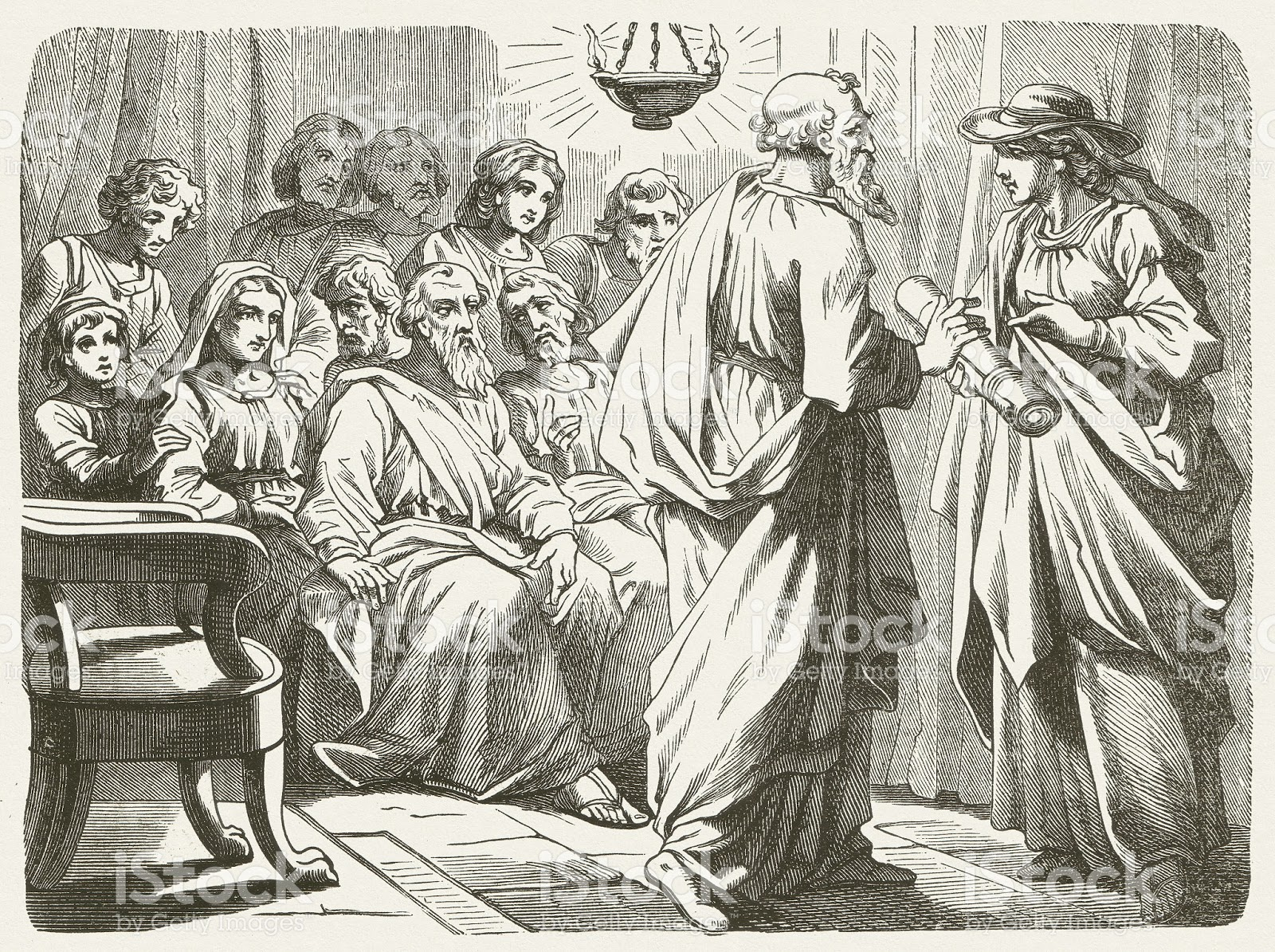 Paul gives Phoebe the letter to the Roman christians.